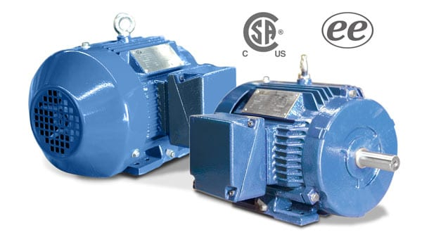 2 Aurora NEMA premium efficiency T-Frame motors presented in 2 views